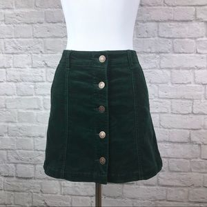 Emerald Green Corduroy Button Front Skirt Small